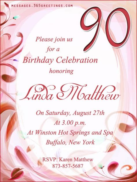 birthday invitation words 90th birthday invitation wording 365greetings