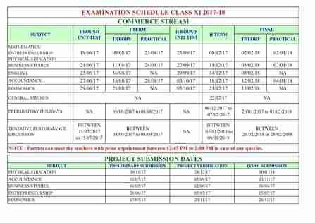 Rbse 11th Time Table 2017