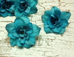 turquoise flowers 5 turquoise delphinium blossoms aqua blue green artificial