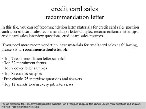 Recommendation Letter Of Credit credit card sales recommendation letter