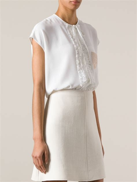 Forever21 Pleated Blouse White T3010 1 lyst n 176 21 ruffled placket blouse in white