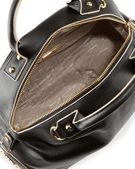 Badgley Mischka Dome Satchel by Badgley Mischka Leather Dome Satchel Bag Black