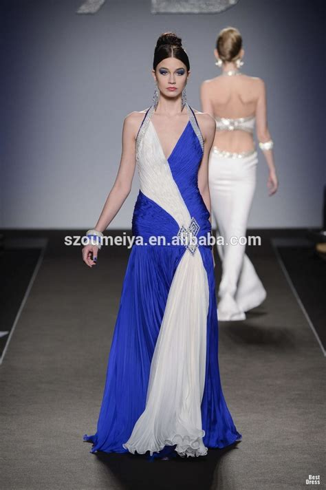 Dress Blus Two Colors Lengan Gelang one62 pleated chiffon halter white and royal blue two