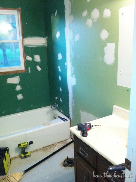 green board in bathroom gutting our guest bathroom beneath my heart