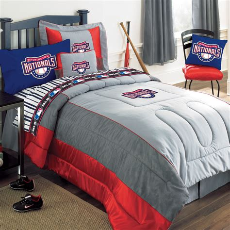 queen size comforter set washington nationals mlb authentic team jersey bedding
