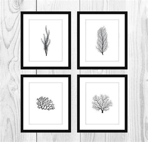 Black And White Artwork For Bathroom by White And Black Coral Printable Bathroom Artwork Set Of 4