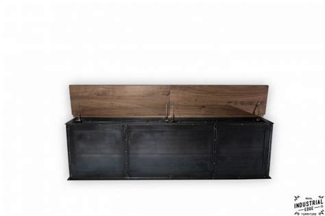Steel Storage Bench / Solid Walnut Top ? Real Industrial