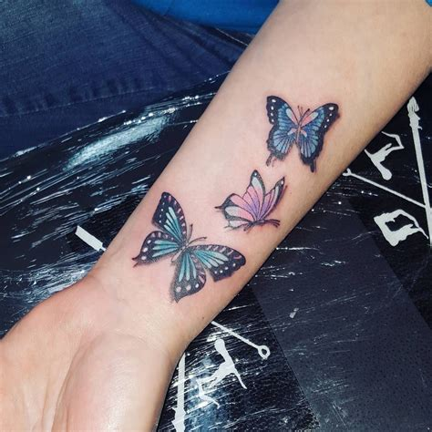 3 butterfly tattoo three colorful butterflies venice