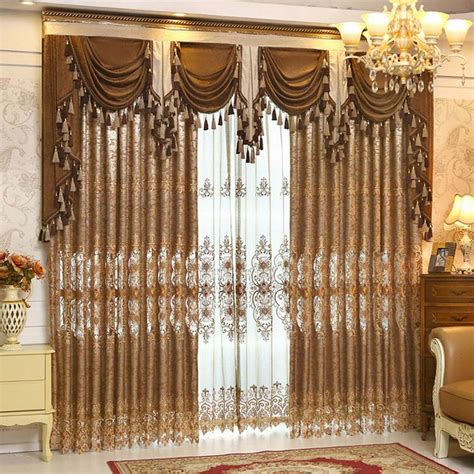 decorative window curtains luxury gold embroidered curtains for living room european