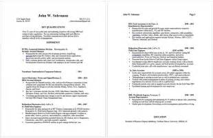 Work History Resume Exle by Preparing An Effective Sales Resume Frank S Employment