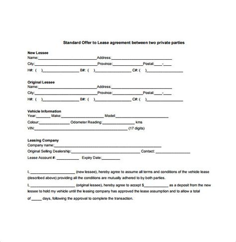 Agreement Letter Between Two Pdf Sle Vehicle Lease Agreement Template 7 Free Documents In Pdf