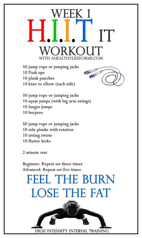 hiit workout week 1 a healthy for me