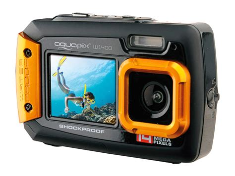 Kamera Aquapix Kamera Water de aquapix w1400 is een dual display onderwatercamera