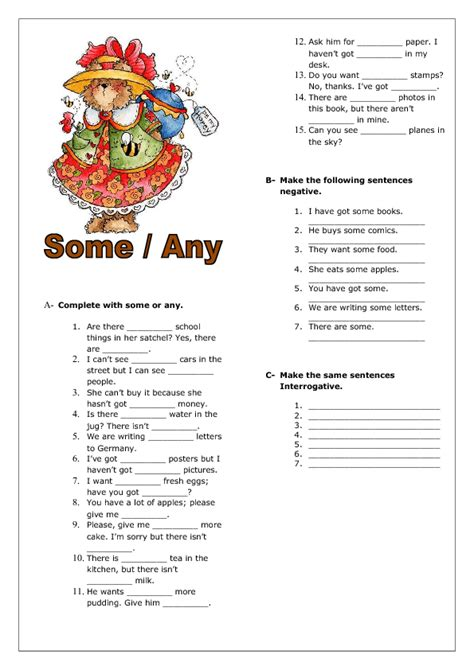 some any elementary worksheet поиск в google some any