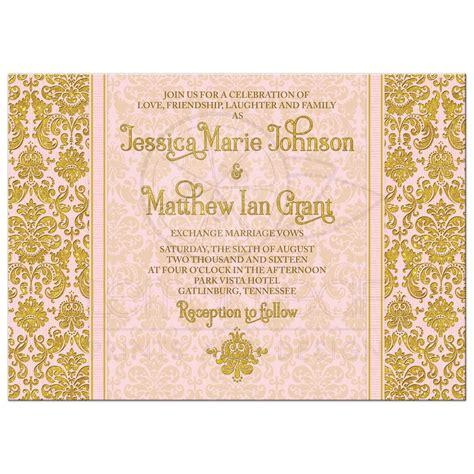 Damask Wedding Invitations by Blush Pink Gold Damask Photo Wedding Invitation