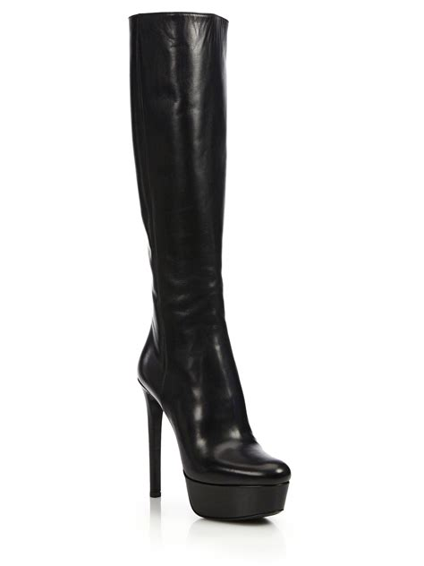 prada leather knee high platform boots in black lyst