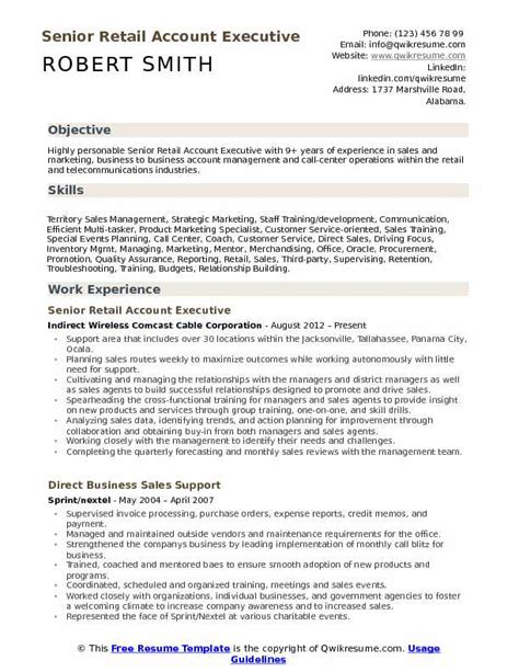 Retail Account Executive Resume Sles Qwikresume