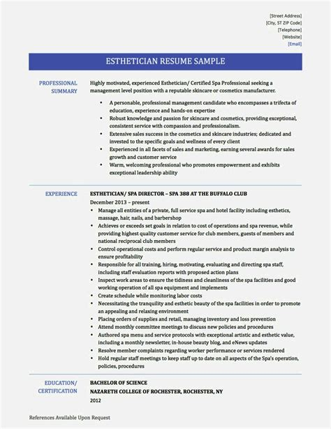esthetician resume templates exles of esthetician resumes resume template cover