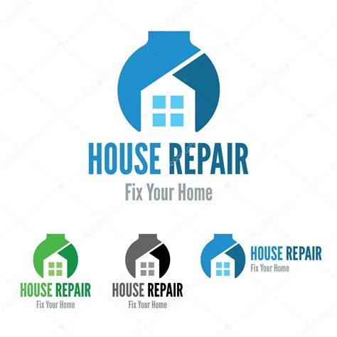 house repair house repair maintenance construction company wrench house logo template stock