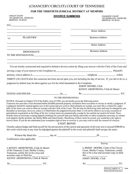 Divorce Records Tennessee Free Tennessee Divorce Papers 62972595 Png Pay Stub Template