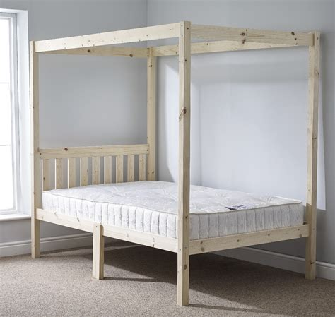 Quattro 4ft 6 Double Four Poster Solid Pine Bed Frame Single Four Poster Bed Frame