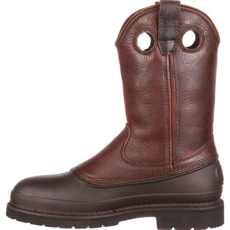 comfortable wellingtons georgia muddog men s 11 quot brown pull on steel toe work