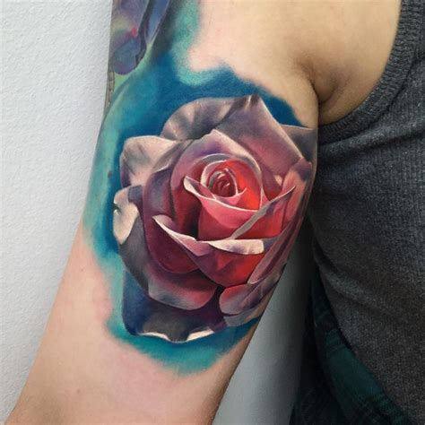 colored rose tattoo realistic best ideas gallery