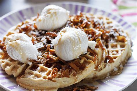vegan maple waffles being tazim