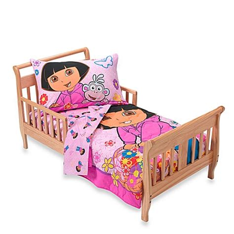 dora bed dora the explorer flowers 4 piece toddler bedding set