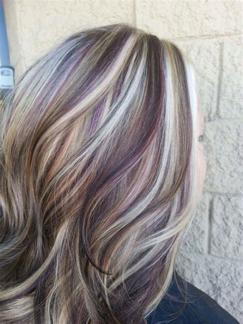 multicolour highlights blonde highlights with purple lowlights my style