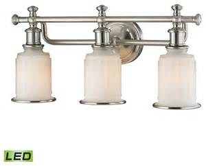 Farmhouse Vanity Lights Elk Lighting 52002 3 Led Acadia Brushed Nickel 3 Light Vanity Farmhouse Bathroom Vanity Lighting