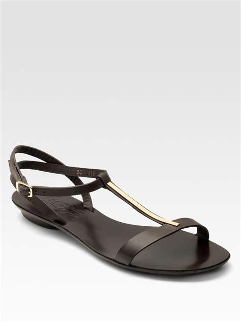 t sandals flat ferragamo dan t flat sandals in brown lyst