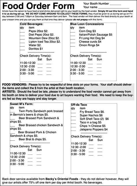 Food Order Form Exles Besttemplates123 Sle Order Templates Pinterest Order Form Food Order Form Template Free