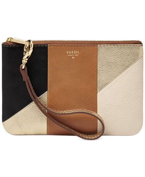 Fossil Pouch Leather fossil sydney leather patchwork small wristlet pouch in