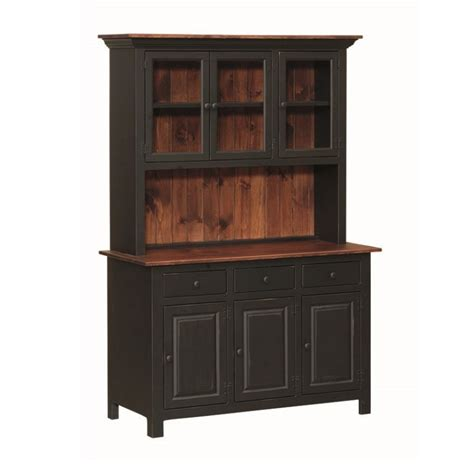 Pine 3 Door Open Hutch   Amish Pine 3 Door Open Hutch