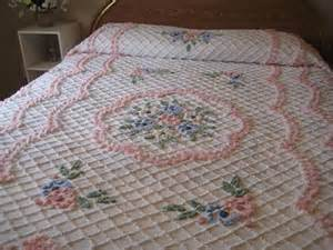 Shabby Chic Bedding White by Vintage Chenille Bedspread Cabin Craft