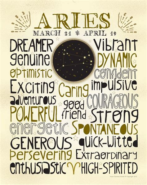 astrology art print aries constellation