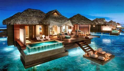 hotel dans la chambre ile de bungalows les pieds dans l eau aux cara 239 bes openminded