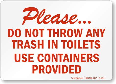 Do Not Use Bathroom In No Waste In Toilet Signs