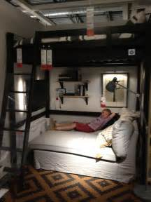 ikea loft bed ikea bedroom loft bed with chaise underneath tv on the wall room decor pinterest ikea