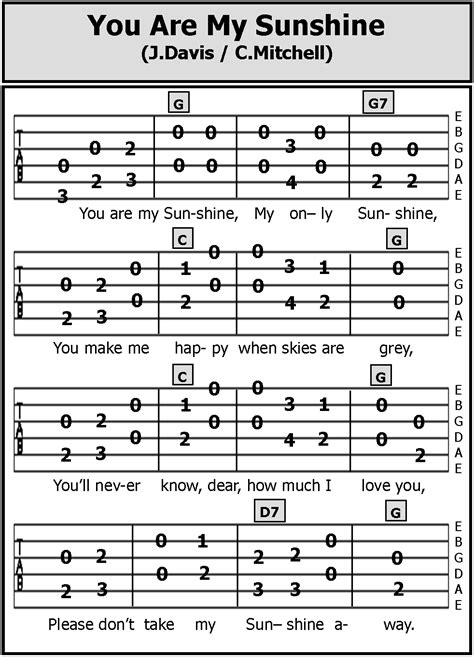 full version you are my sunshine guitar tab songs you are my sunshine