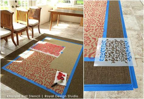 diy painted rug stencil how to stencil an ikea rug with an ikat stencil great chalk paint diy tutorial stenciled