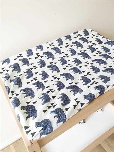 Navy Blue Bear Change Table Pad Cover Change Pad Slip Cover Change Table Pad Cover