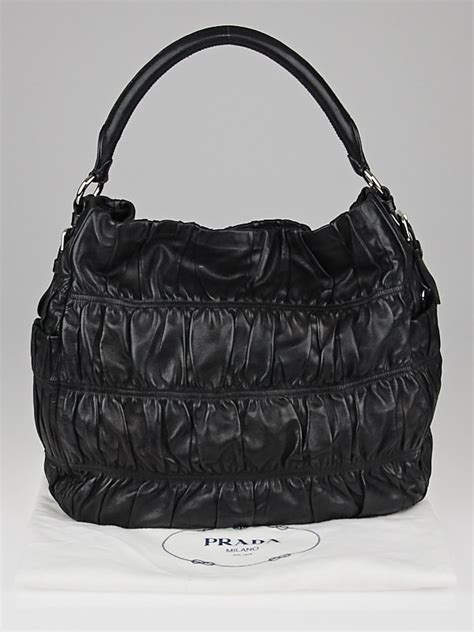 Prada Nappa Gaufrean Hobo by Prada Black Nappa Gaufre Leather Sacca Hobo Bag Yoogi S