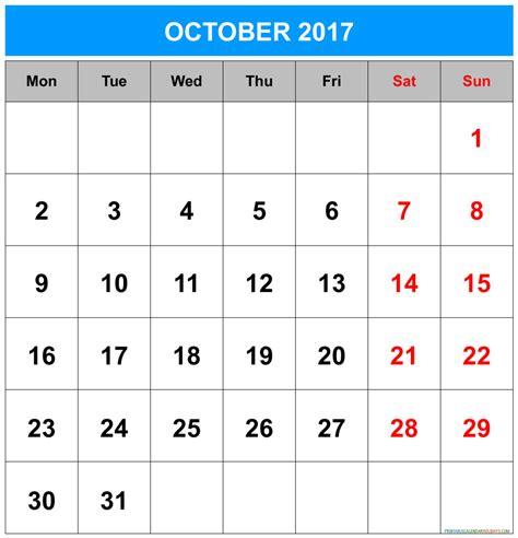 Calendar 2017 July To October October 2017 Calendar Printable 2017 Calendar