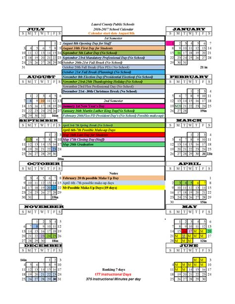 District 112 Calendar Laurel County Schools