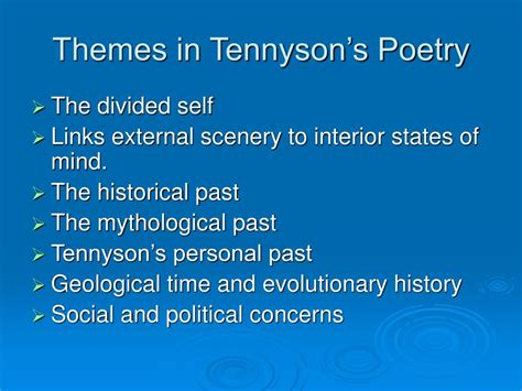 list themes poems ppt alfred lord tennyson powerpoint presentation id 554491