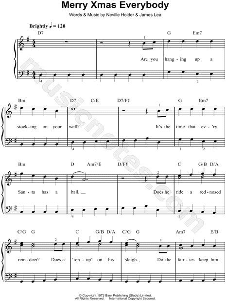 slade merry xmas  sheet  easy piano   major  print sku mn