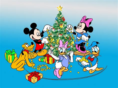 mickey  minnie mouse donald duck  pluto decorating  christmas tree desktop hd wallpaper
