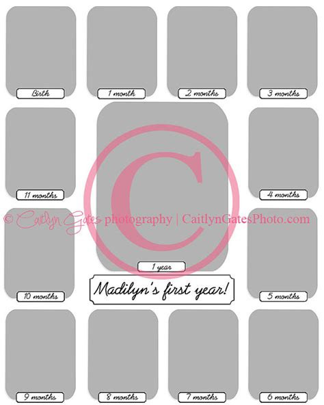 baby s year collage templates 16x20 baby s year collage template by caitina on etsy